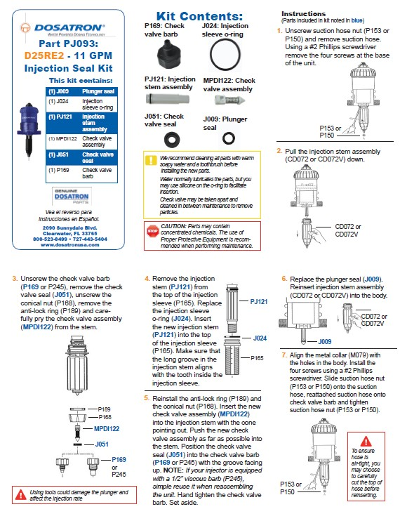 Seal Kit Instructions