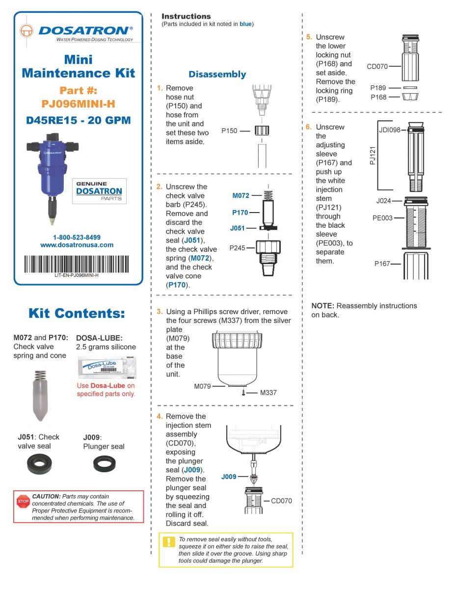 Mini Maintenance Kit Instructions
