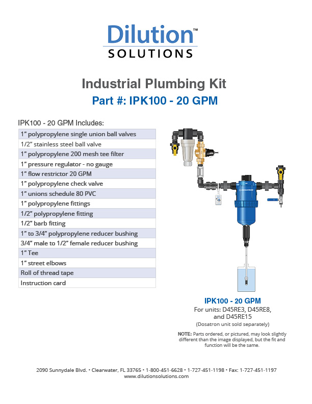 Industrial Plumbing Kit Specification Sheet